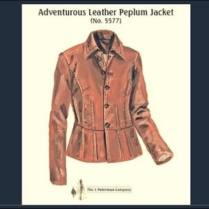 J Peterman Womens Leather Jacket Size 2X Brown